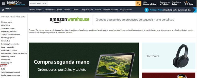 accede a la categoría jardín en amazon warehouse