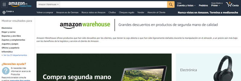 ingresa en amazon warehouse