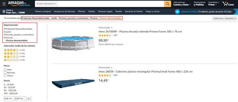 piscinas desmontables de segunda mano en Amazon