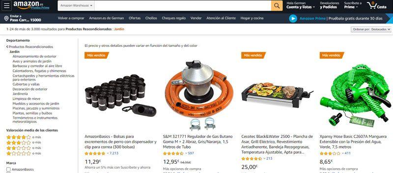 productos usados en Amazon de la categoría jardín
